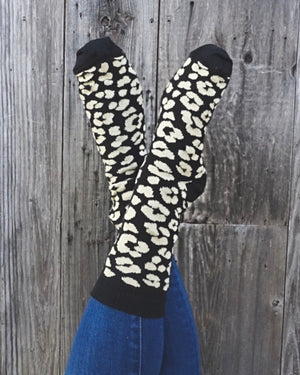Black Leopard Lightweight Boot Socks