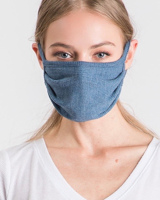 Solid Denim Double-Layered Daily Face Mask With Filter Slot (Pre-Order Ships Approx. 5/20)