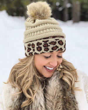 Live Love Gameday® Knit Vintage Leopard Beanie – With Pom