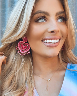 Fuchsia Beaded Fringe Heart Earrings