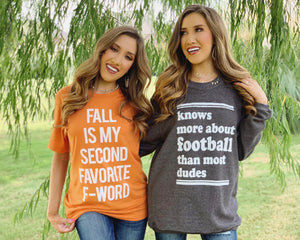 Football – Knows More About Football Than Most Dudes – Oversized Ribbed Vintage-Washed Crew (Ships 10/10)
