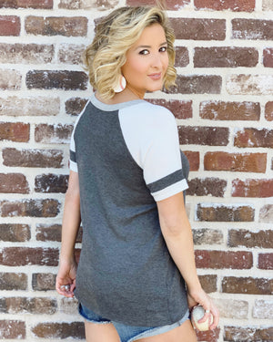 Baseball – Baseball Kinda Girl – Cut-Out Neckline Varsity Baseball Top - Live Love Gameday®