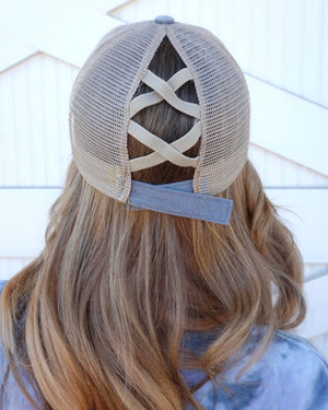 Gray Faded Criss-Cross Cap