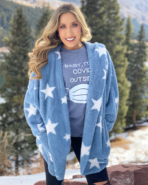 Super Cozy Winter Blue Star Faux Fur Open Jacket