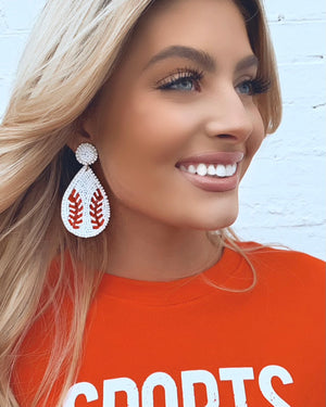 Beaded Baseball Drop Earrings
