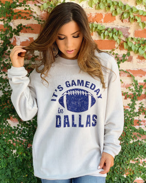 Football – It's Gameday In Dallas – Oversized Ribbed Vintage-Washed Crew