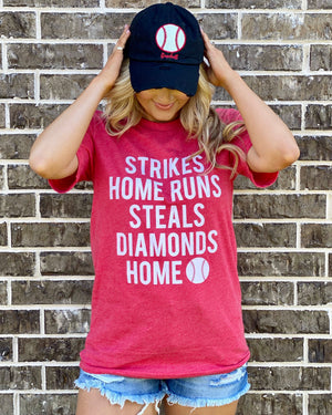Red Strikes Home Runs Steals Diamonds Home Tee