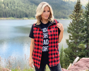Buffalo Plaid Snap Vest - Live Love Gameday®