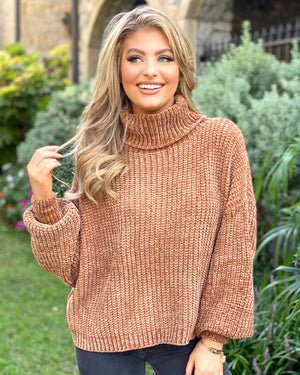 Latte Chenille Turtleneck Sweater