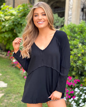 Black Ribbed-Sleeve Super Soft Top
