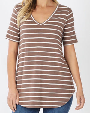 Mocha Super Soft Striped V-Neck Short-Sleeve Top (S-3XL)