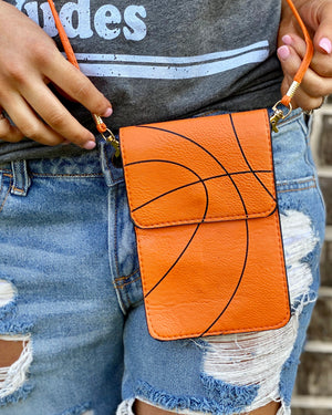 Basketball Crossbody With Cellphone Texting Clear Pouch