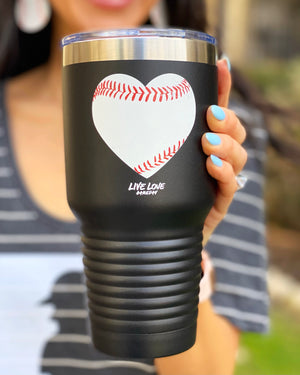 Black Distressed Baseball Heart  32 oz. Tumbler