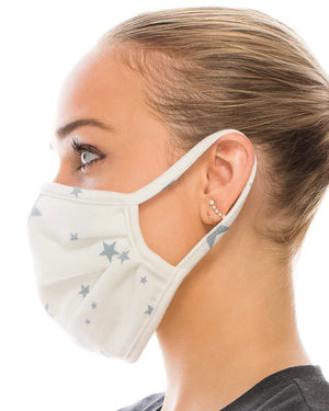 Light Blue Star Double-Layer Daily Face Mask With FIlter Slot (Pre-Order Ships Approx. 5/15)