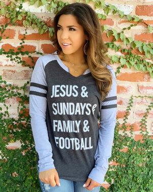 Football – Jesus & Sundays & Family & Football – Long-Sleeve Jersey Tee