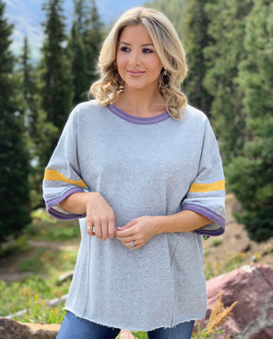 Oversized Vintage Muted Purple & Gold Rough-Edge Jersey Tee