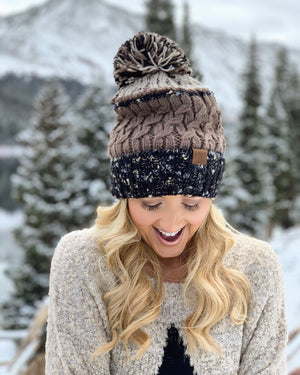 Textured Neutral Slouchy Beanie