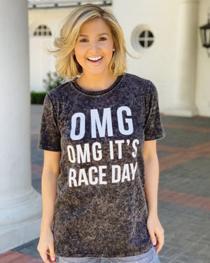 OMG OMG It's Race Day Mineral-Dipped Tee