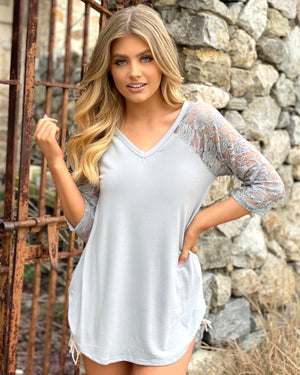 Silver 3/4 Lace-Sleeve Top