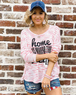 Baseball – Home Is Where The Field Is® – LIMITED EDITION Striped Lightweight Knit Top - Live Love Gameday®