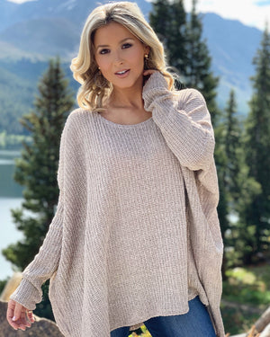 Ribbed Loose Knit Sweater (Oatmeal)