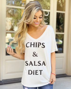 Chips & Salsa Diet Oversized Slouchy V-Neck (Plus Sizes Now Available) - Live Love Gameday®