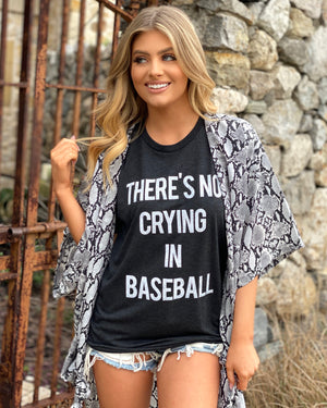 Vintage Black There's No Crying In Baseball Basic Tee