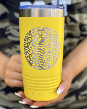 Leopard Softball Engraved Tumbler (Yellow)