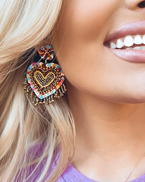 Multi-Color Beaded Fringe Heart Earrings