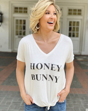 Honey Bunny White Slouchy Long Cropped Tee
