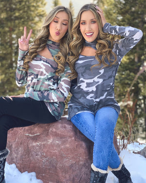 Cut-Out Thermal Camo Long-Sleeve Top
