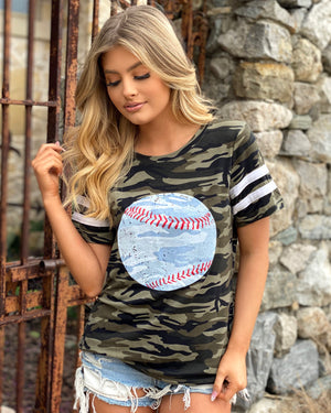 Camo & Stripe Distressed Baseball Tee