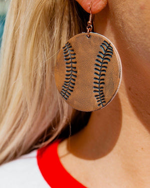Vintage Brown Leather Baseball Earrings