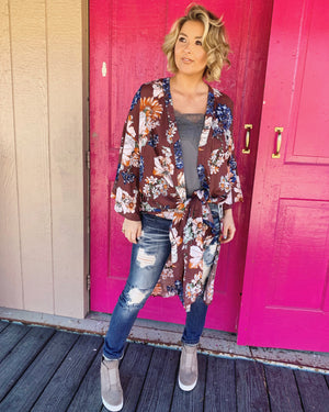 Floral Side-Slit Kimono (Vintage Burgundy) - Live Love Gameday®