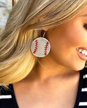 Softball Suede Crystal Game Day Earrings