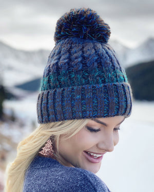 Navy Multi-Color Pom Beanie