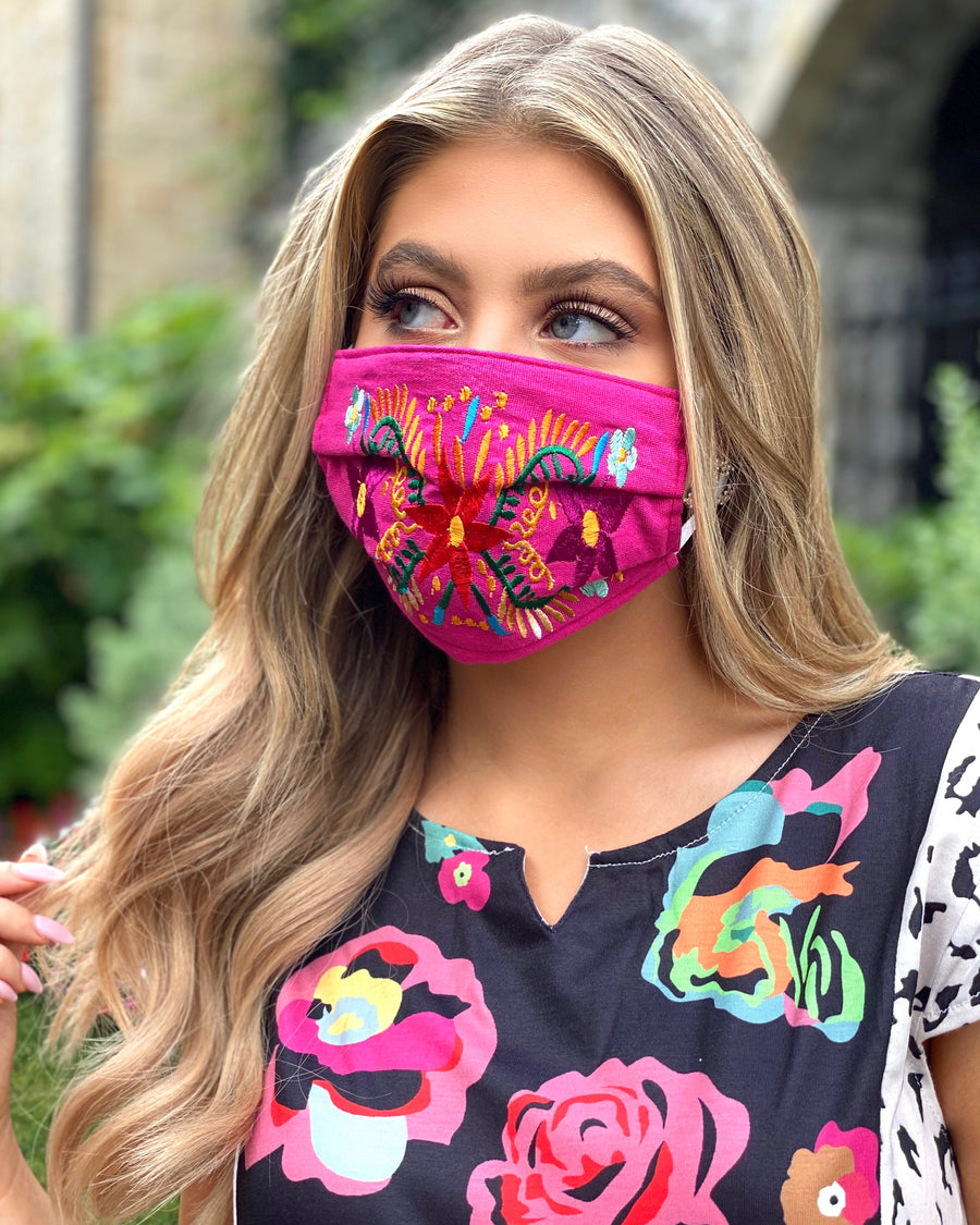 Hot Pink Colorful Embroidered Floral Mask