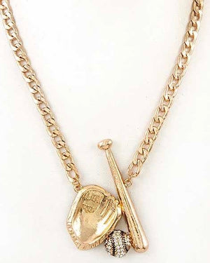 Ball & Glove Gold Chain Necklace