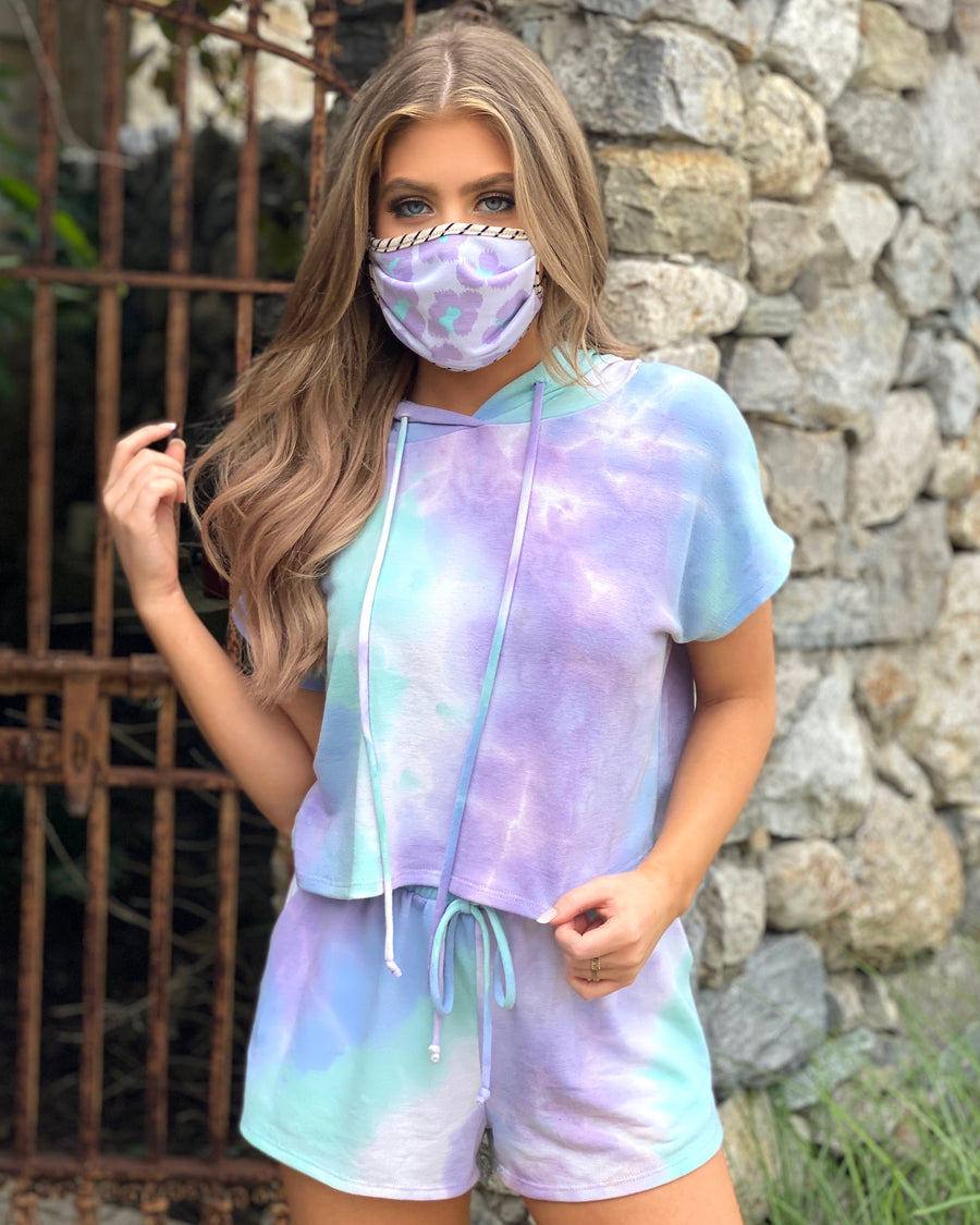 Lavender Tie-Dye Short Sleeve French Terry Set