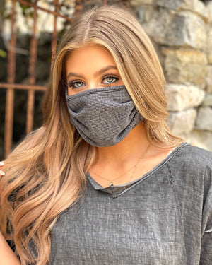 Solid Dark Gray Double-Layered Daily Face Mask With Filter Slot (Pre-Order Ships Approx. 5/20)