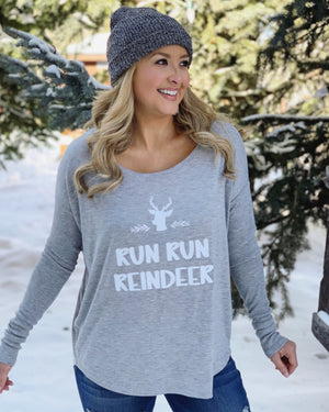 Run Run Reindeer Long-Sleeve Flowy Tee