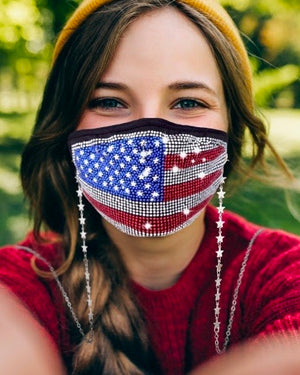 Sparkle Patriotic Adjustable Daily Face Cover