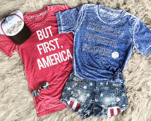 But First, America LIMITED EDITION Red Acid Wash Tee - Live Love Gameday®