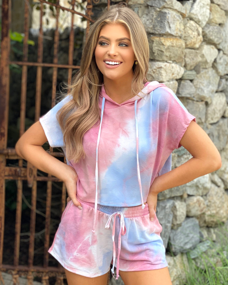 Pink Tie-Dye Short Sleeve French Terry Set