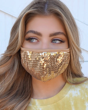 Gold Sequin Daily Face Cover
