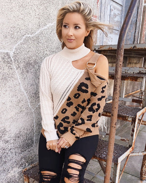 Dual-Tone Animal Print Chunky Open-Shoulder Sweater