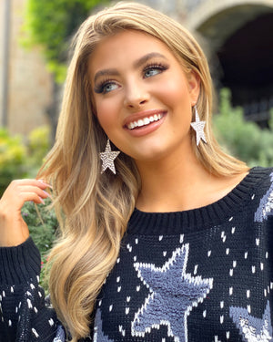 Oversized Sparkle Star Earrings