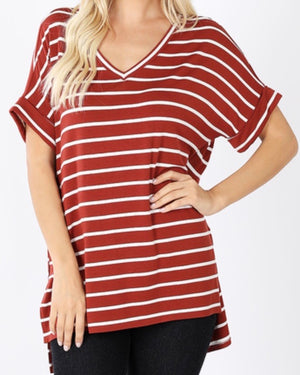 Rust Striped Short-Sleeve Top (S-3XL)