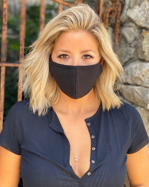 100% Cotton 3-Layer Black Unisex Face Cover