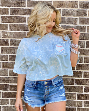 Baseball Blue Mineral-Dipped Pocket Crop